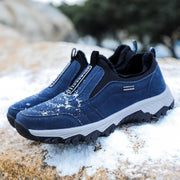 Men's Cloth Suede Faux Fur Plus Velvet Non-Slip Wear-Resistant Outdoor Mountaineering Low-Top Sneakers
