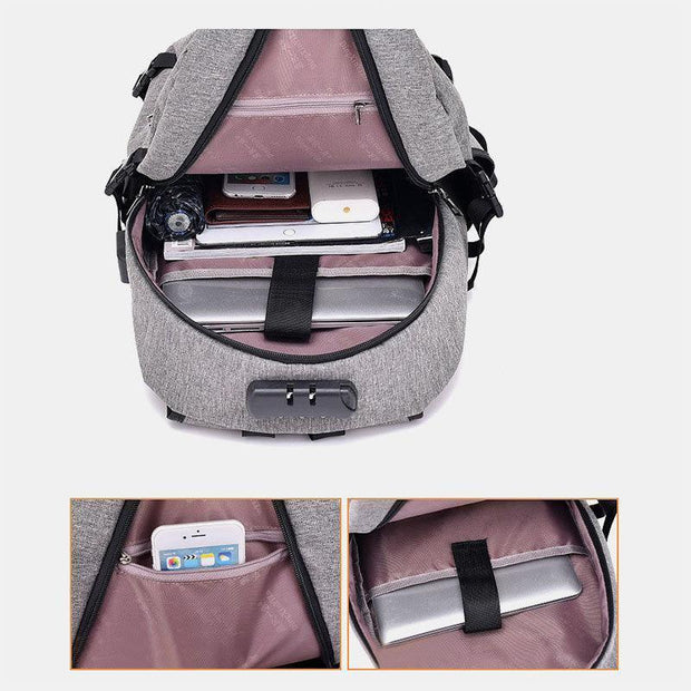 Men Women Anti-theft USB Charging Multifunction Travel Backpack