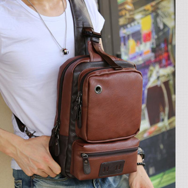 Men's PU Leisure Large Capacity Travel Shoulder Bag
