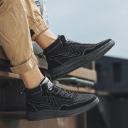 Men's New Breathable Leather High-Top Retro Canvas Shoes Martin Boots