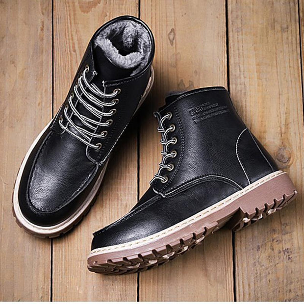 Men's wild British wind retro high plus cashmere warm cotton shoes