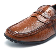 Men's Soft Leather Crocodile Pattern Slip On Driving Loafers