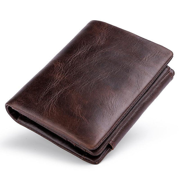 Men's Casual Retro Cowhide Tri-Fold Buckle Coin Wallet