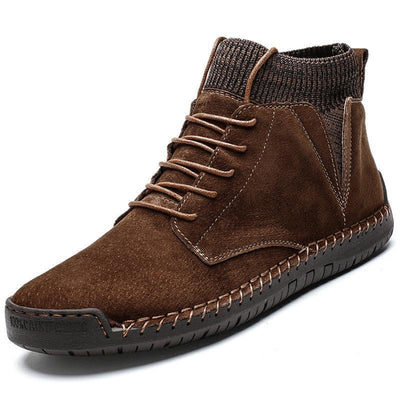 136733 Men Hand Stitching Non Slip Leather Fabric Splicing Casual Boots