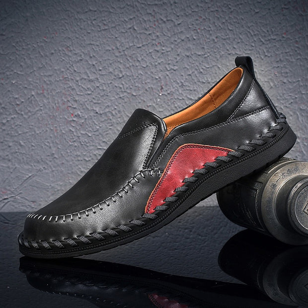 Men's leather casual shoes wish large size handmade shoes