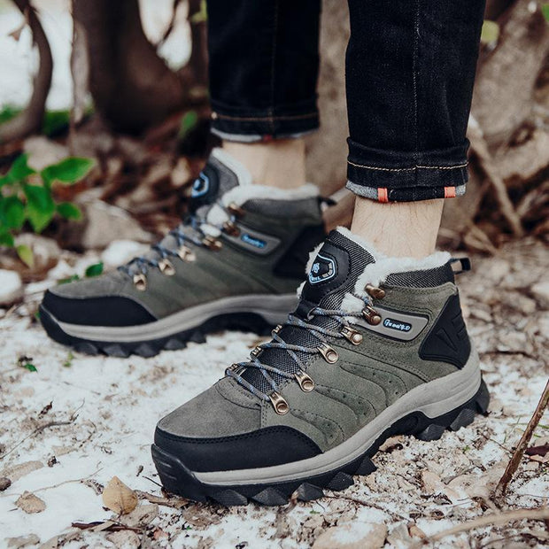 Men's Leather Suede Plush Velvet Warm Outdoors Non-Slip Sneakers