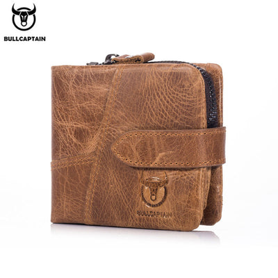 Herren Vintage Leder Trifold Wallet Herren Short Hasp Wallet CASUAL MALE Zipper Wallets Kartenhalter Geldbeutel Coin Purse
