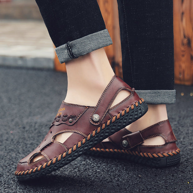 Herren Large Size Hand Stitching Closed Toe Soft Hole Ledersandalen