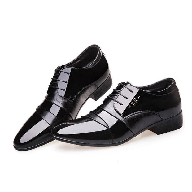 Men Splicing Leather Slip Resistant Business Casual Formal Dress Shoes
