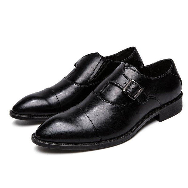 Men's Large Size Metal Buckle Business Formal Casual Monk Shoes