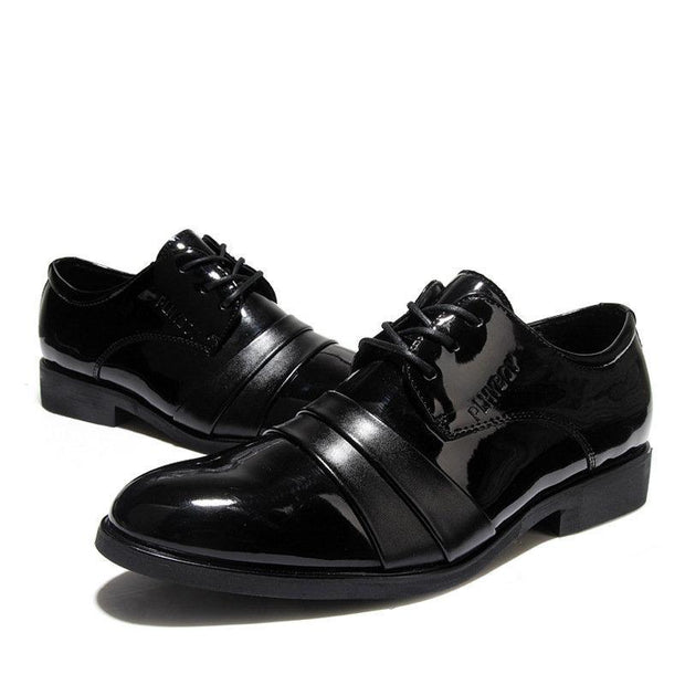 Men Black Cap Toe Lace Up Business Formal Casual Shoes