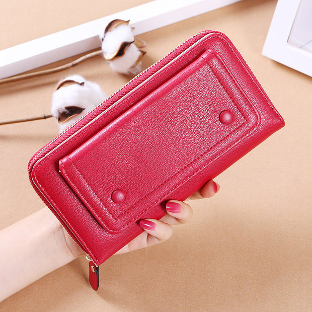 Damen Geldbörse Lang Student Wild Two Fold Multifunctional Simple Wallet