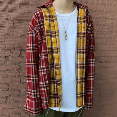 Men's Stylish Contrasting Plaid Loose Casual Shirt