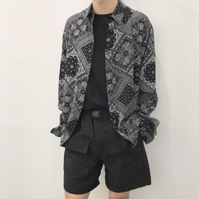 Men's Stylish Black Printed Loose Casual Long Sleeve Shirt