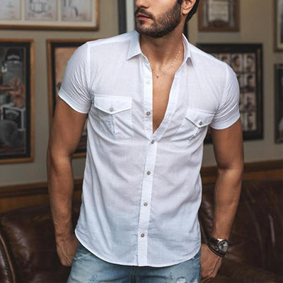 Men's Casual White Short Sleeve Shirt