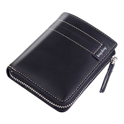 Herren Leder Short Retro Zip Wallet