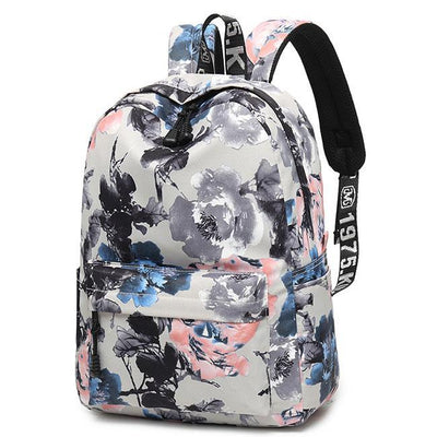 Damen Unique Leaves Flower Ink Style Schulrucksack Studentenrucksack