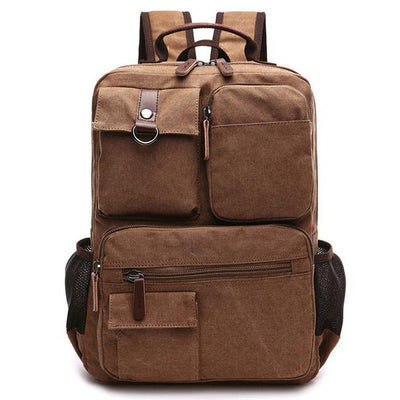 Herren Freizeit Multi-Pocket Outdoor Reiserucksack Braun Large School Canvas Laptop Rucksack