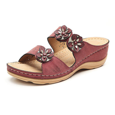 Frauen Breathable Blumen Slipper Wedges Sandalen