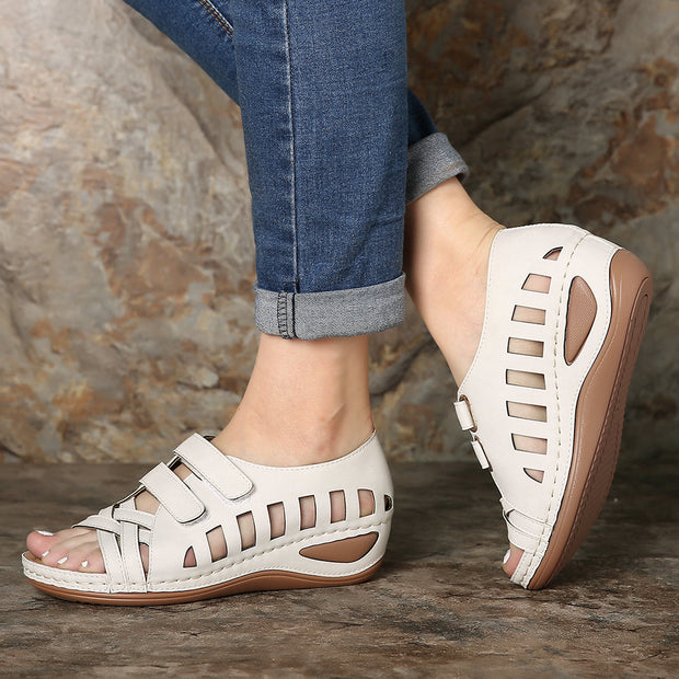 Frauen Peep Toe Hollow Out Breathable Casual Wedges Sandalen