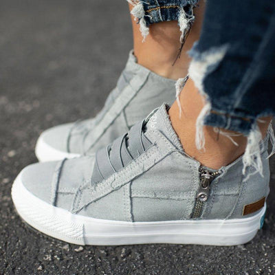 Frauen mit niedrigem Absatz All Season Sneakers Canvas Slip-On Müßiggänger
