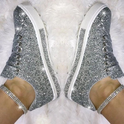 Frauen Casual Tagesfunkelnden Glitter Lace Up Flache Turnschuhe