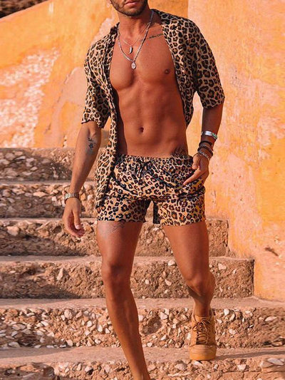 Men's Casual Leopard Print Beach Short Sleeve Shirt Set