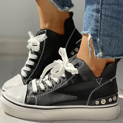 Frauen Casual Eyelet Lace-Up Sneakers