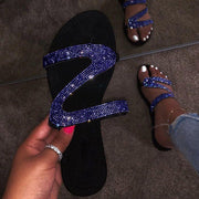 Slip-on flache Open Toe Strass Sandalen