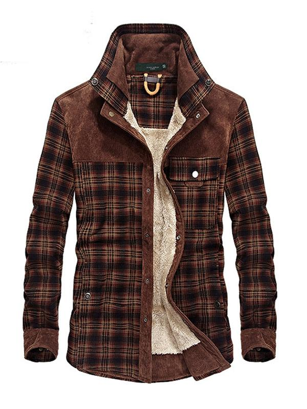 Herren Flanell Plaid Winter-Retro Bluse und Hemd