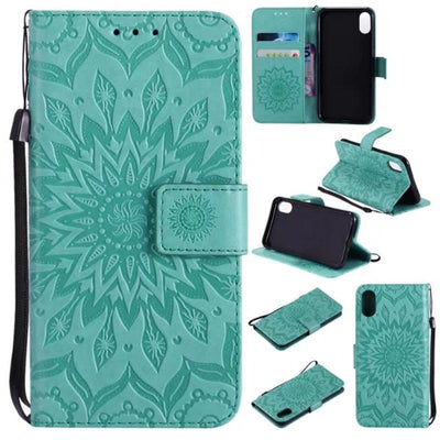 Sunflower embossed multi-function phone case for iPhone&Samsung