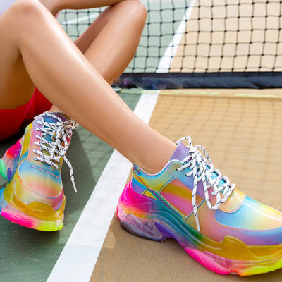 Damenmode Casual Rainbow Holographic Textured Sole Sneaker