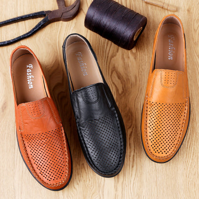 Herren Hollow Retro bequeme Slipper Lederschuhe