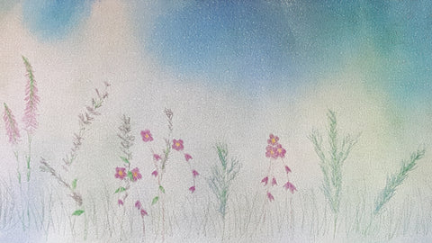 floral watercolor meadow