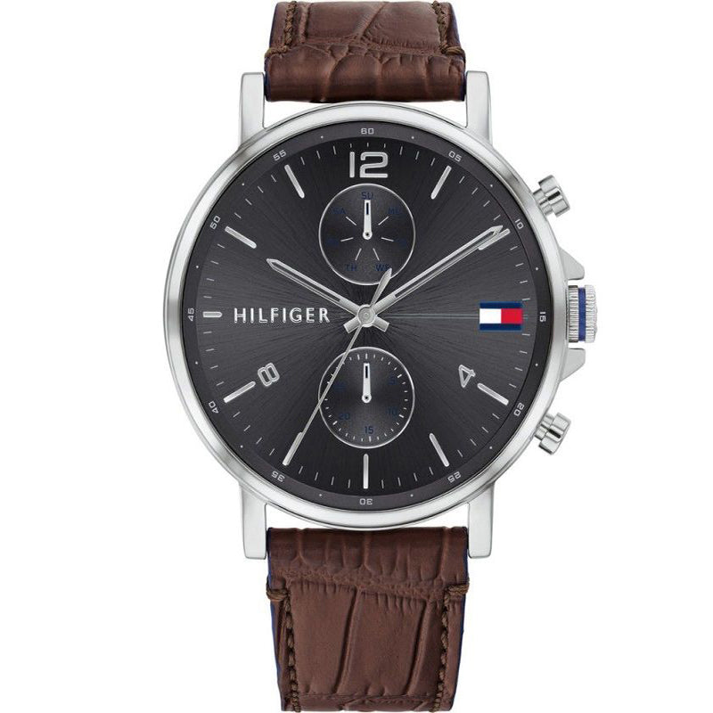 Tommy Hilfiger 1710416 Daniel  Grey Dial with Brown Leather Strap Watch