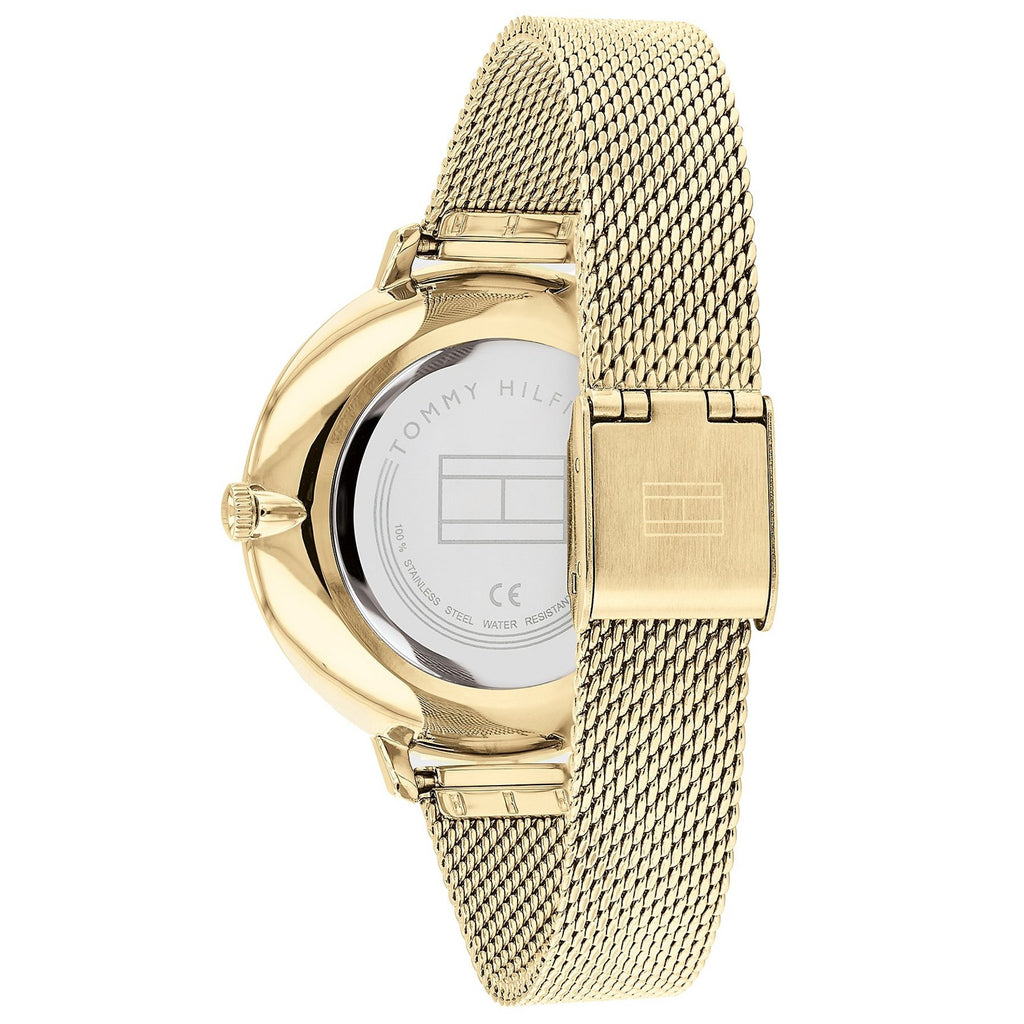 Tommy Hilfiger 1782114 Mesh Dress Watch With Pave Crystals - Gold