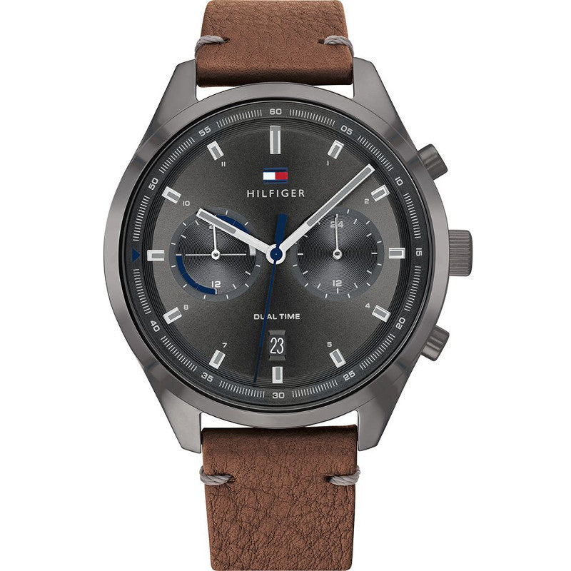 Tommy Hilfiger 1791730 Bennett Grey Dial Brown Leather Strap Watch