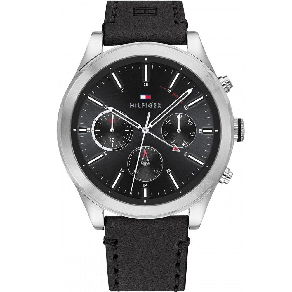 Tommy Hilfiger 1791740 Men's Ashton Leather Watch - Black