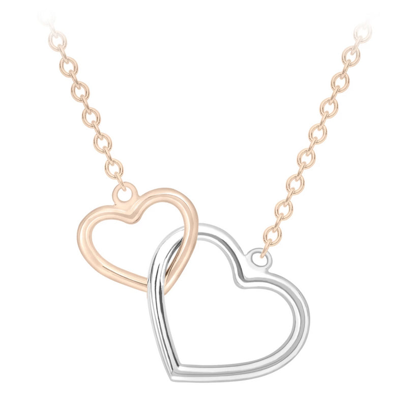 9ct two colour gold interlocked hearts pendant