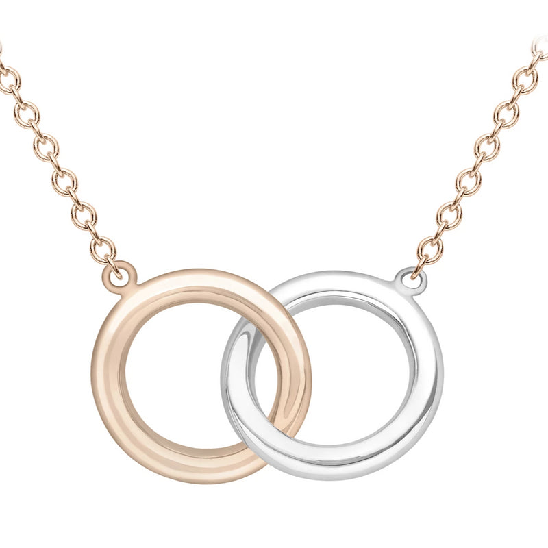 9ct rose and white gold double rings pendant