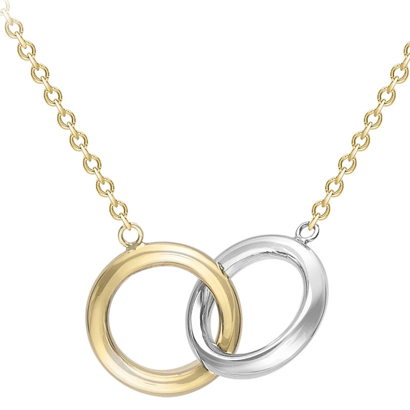 9ct Yellow and White Gold double circles pendant