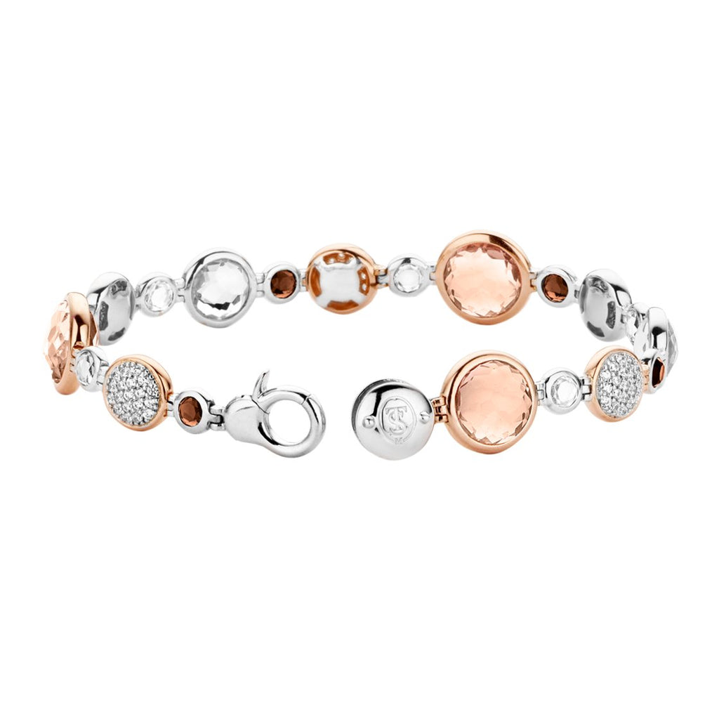 Ti Sento 2902tp Milano Brown And Rose Gold Stones Bracelet