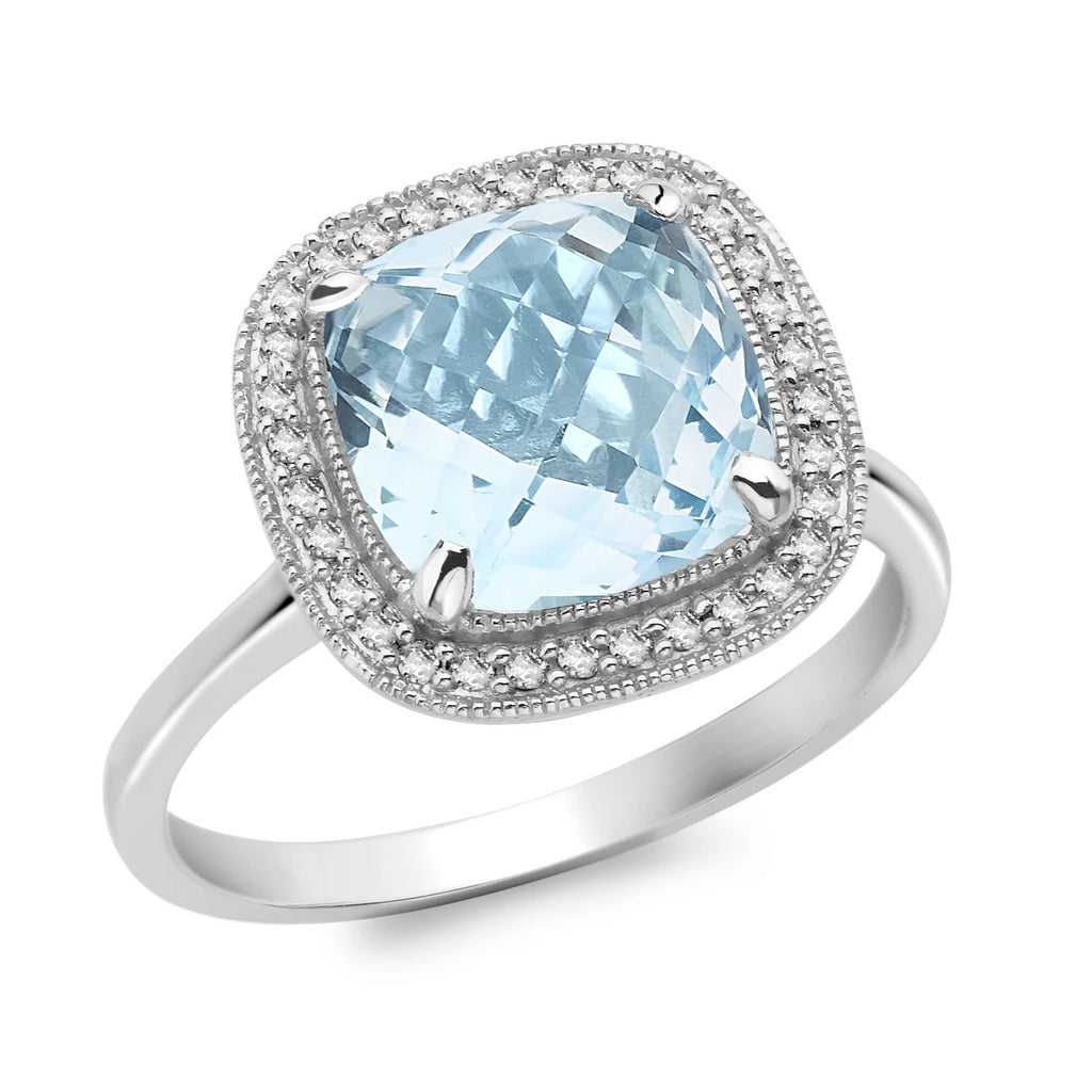 9ct. White Gold  Blue Topaz and Diamond Ring