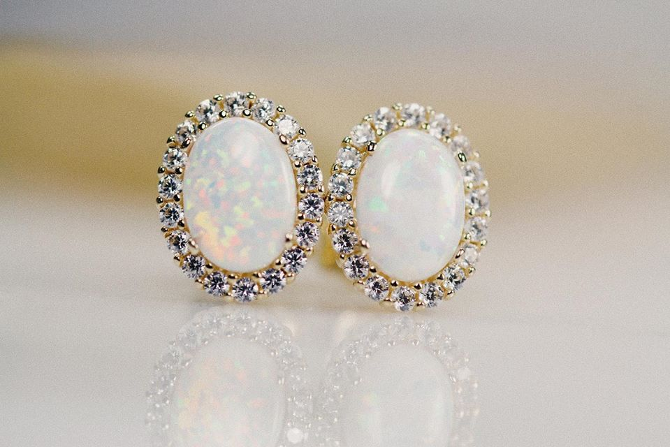 9 carat yellow gold Opal and cubic zirconia  earrings