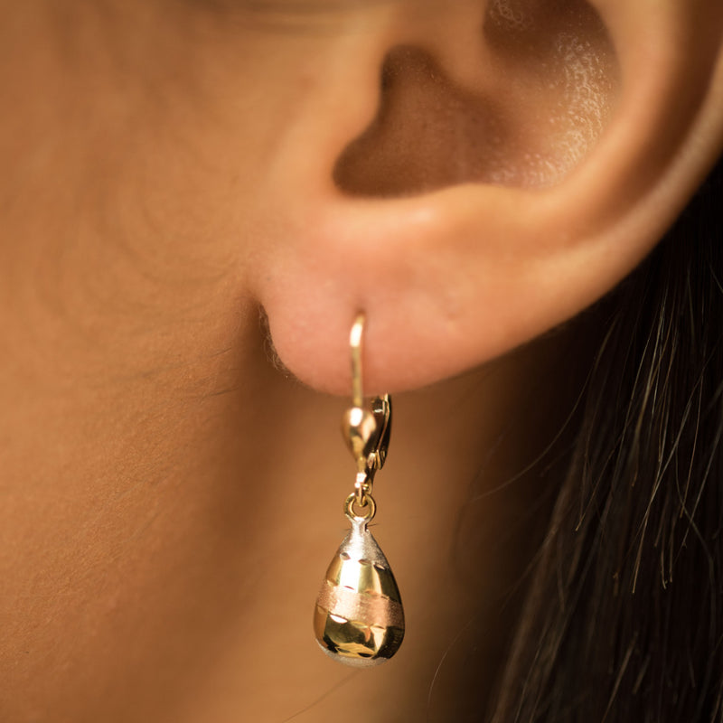 9ct.3-Colour Gold 7mm Pear Shaped Drop Earrings