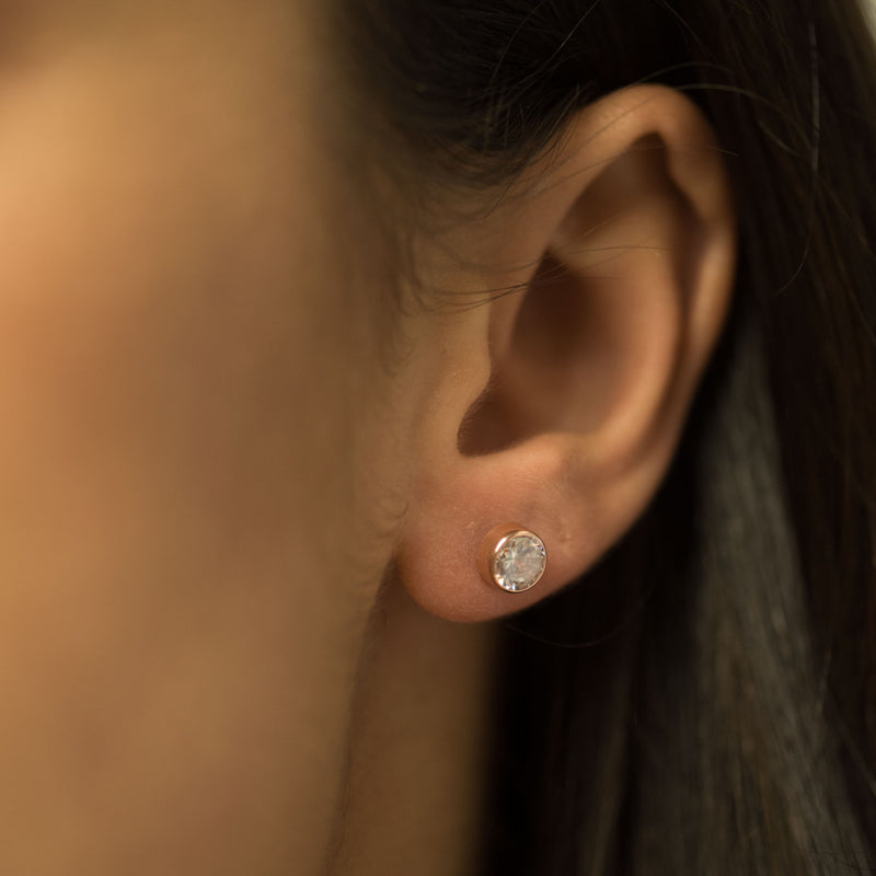 9ct.Rose Gold cz 4mm Over Setting Earrings