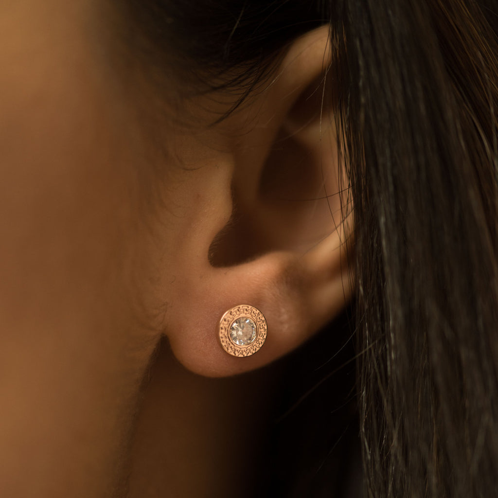 9ct.Rose Gold cz 7mm Earrings