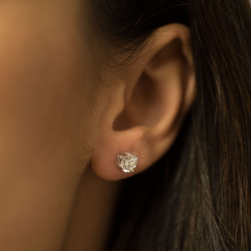 9ct.White Gold cz 4mm Round Stud Earrings