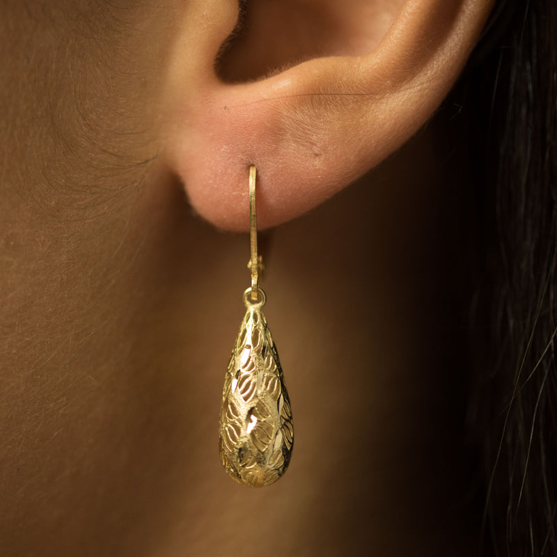 9ct. Yellow Gold 33mm Long Teardrop Earrings