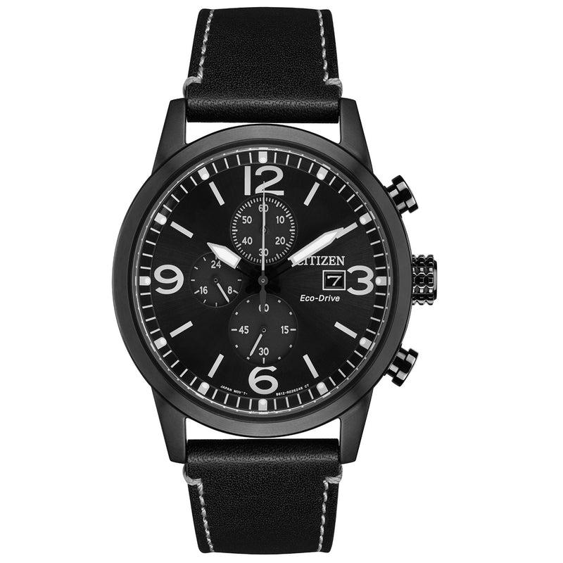 Citizen CA0617-29E Chronograph Eco-Drive Analog Leather Black Dial Men's Watch